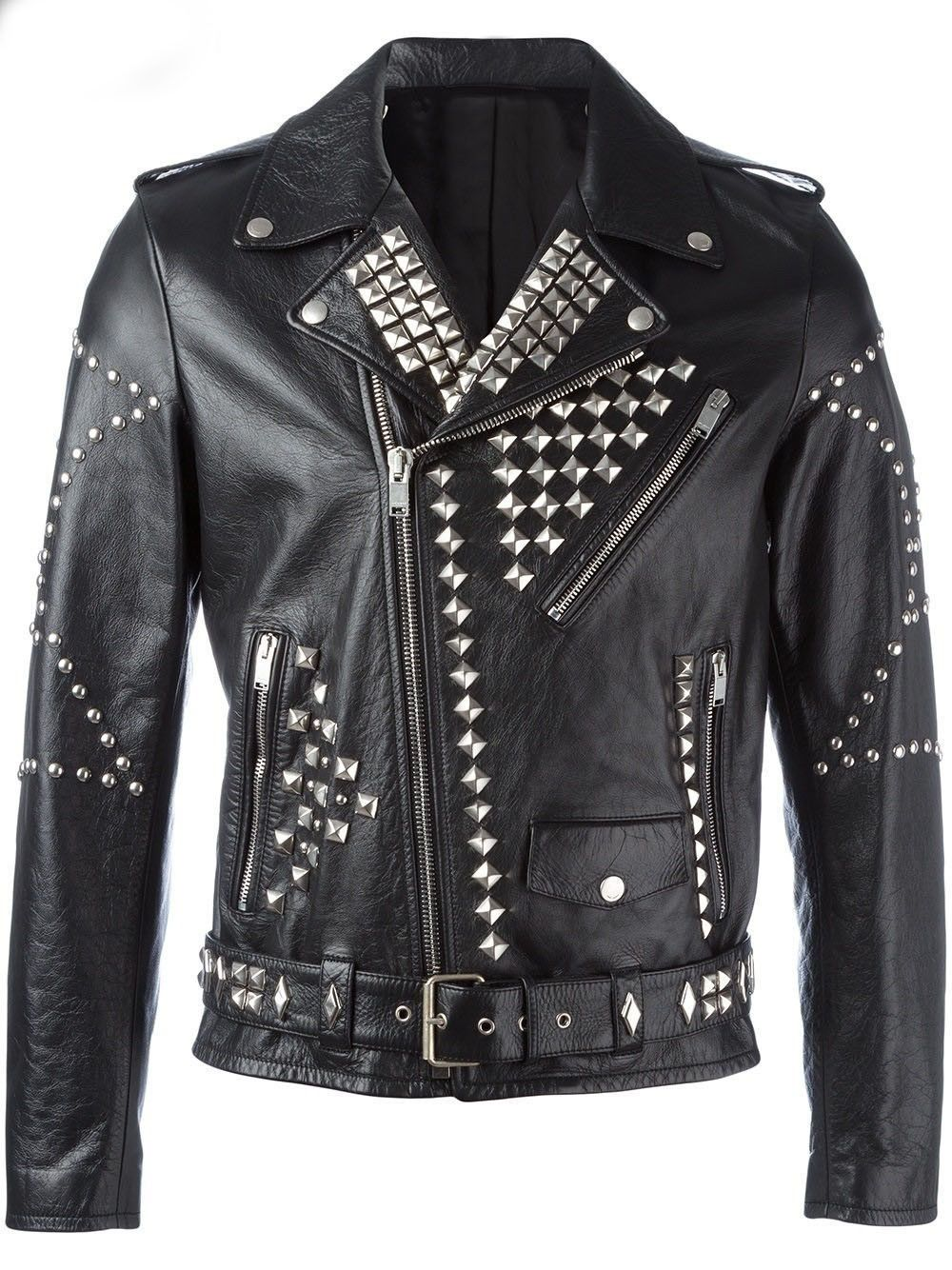 Men Classic Sliver Studded Leather Motorcycle Jacket, Biker Leather Jacket is part of Clothes Mens Classic - Men classic sliver studded leather motorcycle jacket, biker black leather jacket