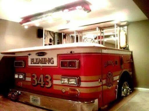 Extremely Awesome Fire Truck Hot Tub Firefighter Man Cave