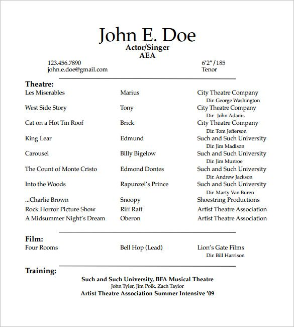 Student Actor Resume Template How To Create A Good Acting Resume Template Acting Resume Templa Acting Resume Template Acting Resume Sample Resume Templates