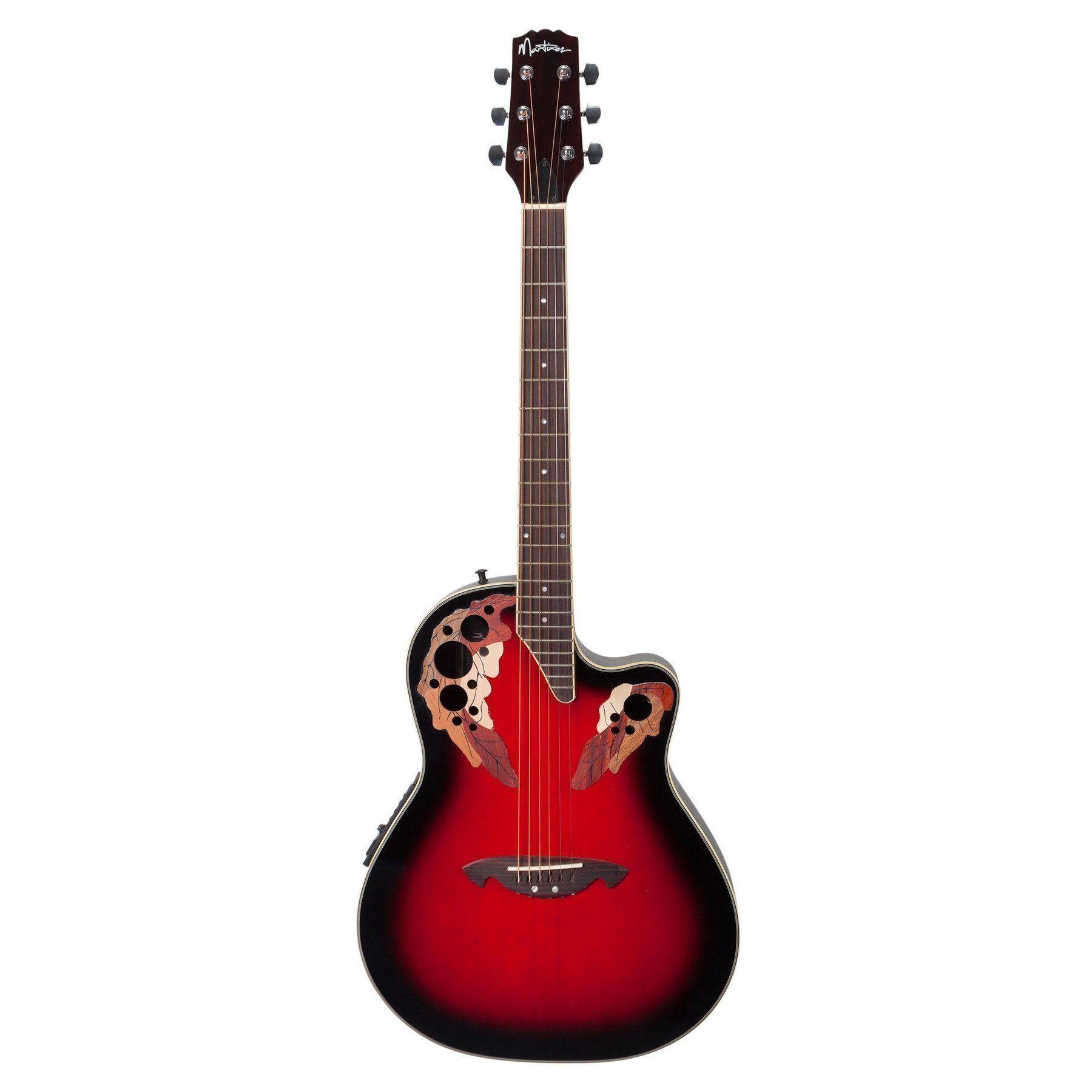 Martinez Acoustic Electric Roundback Cutaway Guitar Transparent Wine Red Acoustic Electric