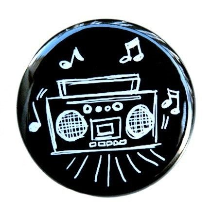Boom Box Drawing - Button Pinback Badge 1 1/2 inch
