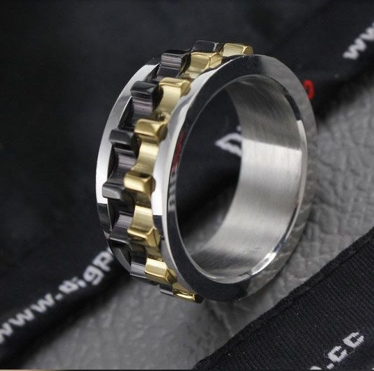 Mens Wedding Ring Black Chain Spinner Promise Gear Moveable