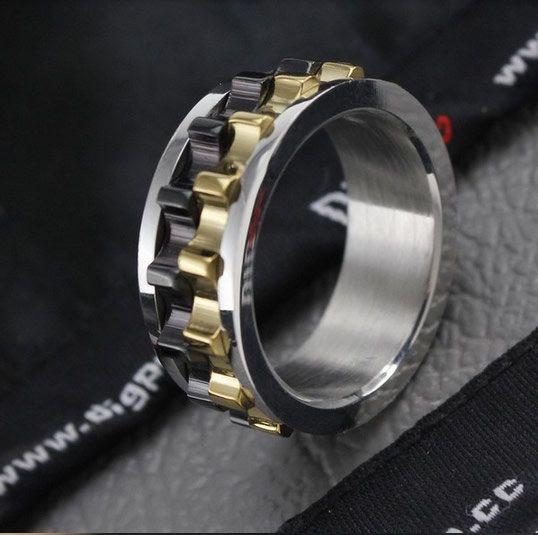 Mens Wedding Ring Black Chain Spinner Mens Promise Ring Gear Spinner Ring Moveable Gear Ring