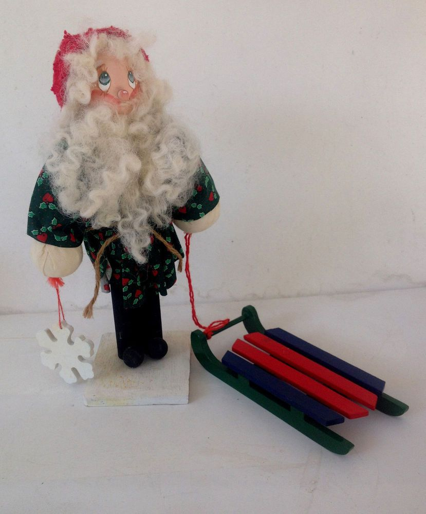 "ESTATE ITEM- 11.25"" SWEDISH ? WOODEN TOMTE SANTA W/SLED AND SNOWFLAKE"