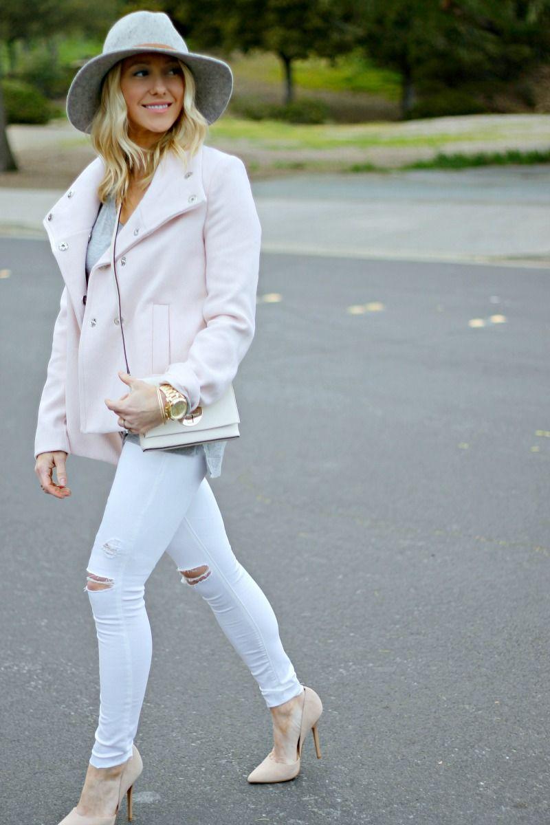 White/blush/gray