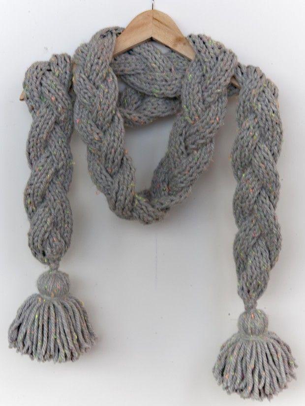 C mo hacer una bufanda de punto trenzada con lana - Como hacer una bufanda de lana gorda ...