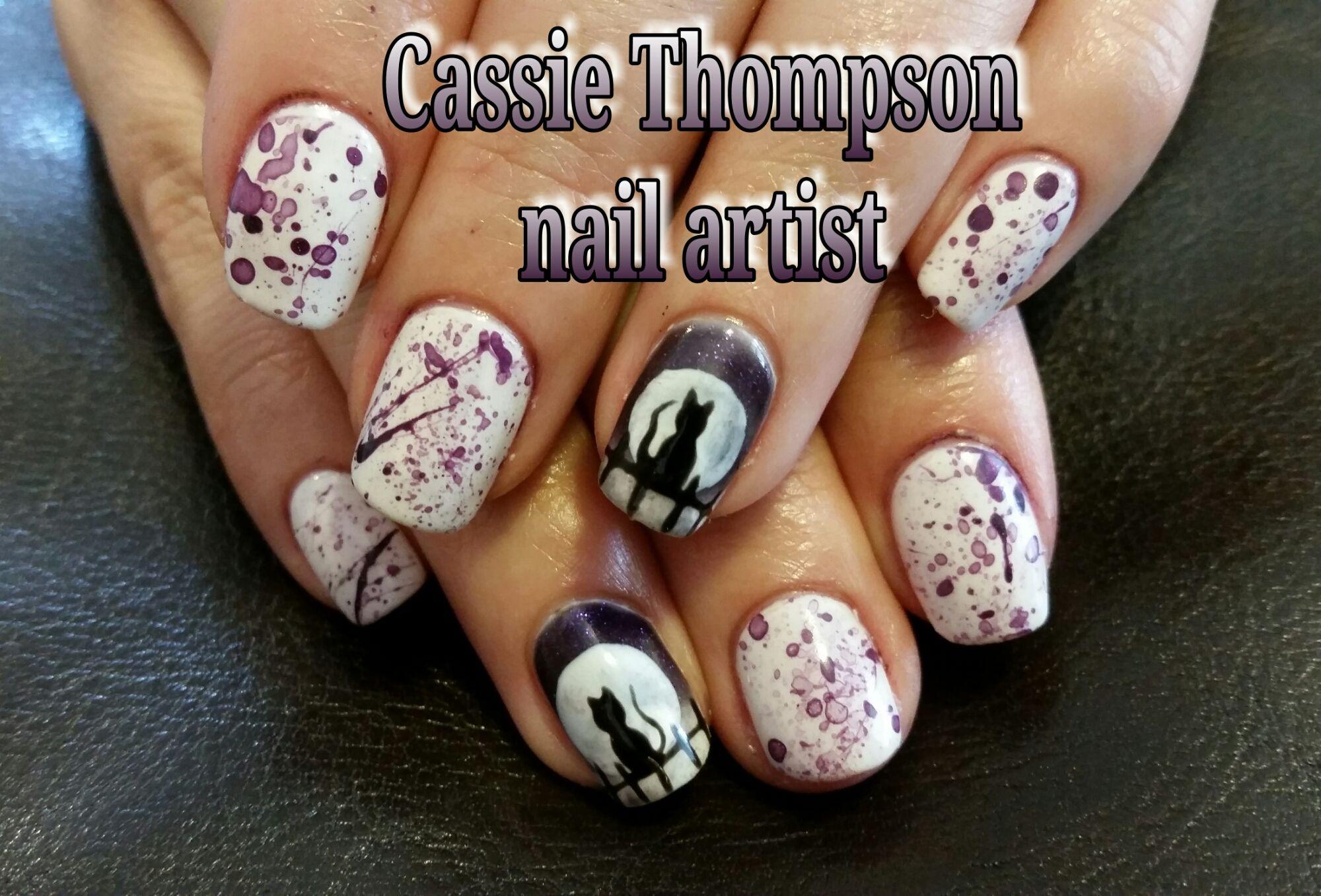 Purple Splatter Full Moon Cat Gel Mani Hand Painted Nail Art By