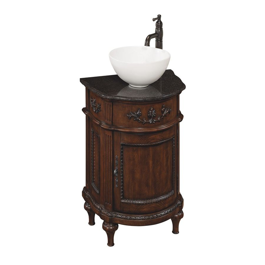Style Selections Vinton Sienna Vessel Single Sink Birch Poplar Bathroom Vanity With Granite Top