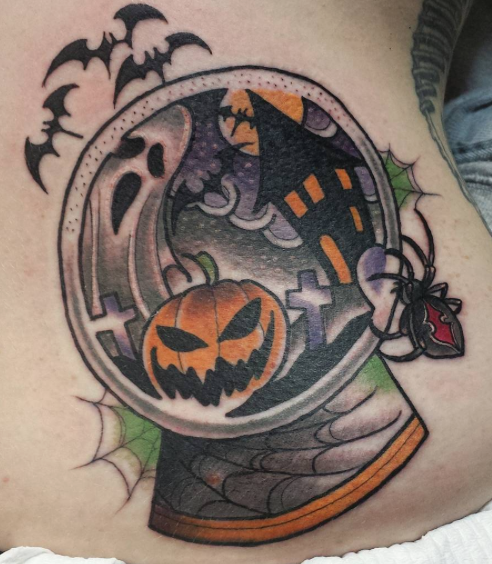 Halloween snowglobe tattoo Richie Blackheart Halloween