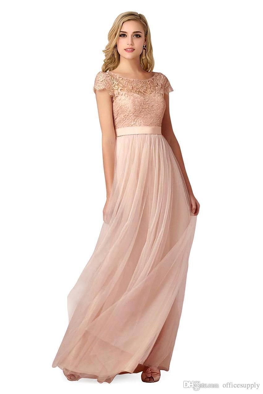 Cheap country style 2018 cheap newest navy blue chiffon lace short 2016 cheap in stock lace long bridesmaid dress blush pink scoop short sleeves lace tulle maid ombrellifo Image collections