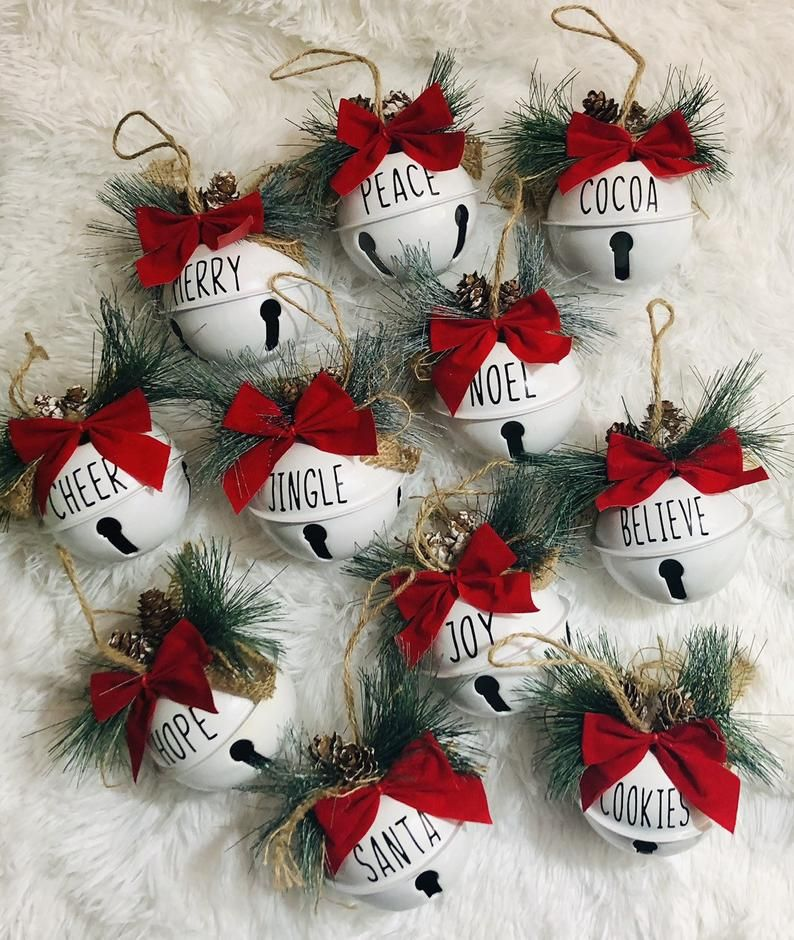 Jingle Bell Sleigh Bell Joy Peace Santa Christmas Ornament Etsy In 2020 Diy Christmas Ornaments Easy Custom Christmas Ornaments Christmas Ornaments