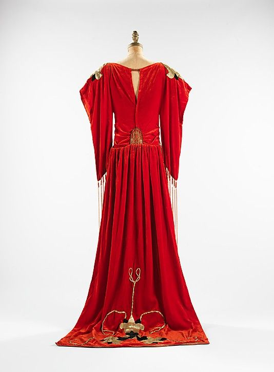 "Red silk velvet ""Robe Sabat"" dress with metallic beadwork and appliqué (back), designed by Paul Poiret, French, 1921."