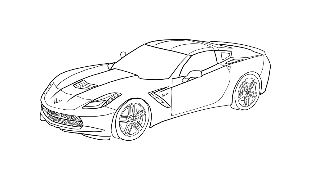 Corvette Coloring Pages in 2020 (With images) Coloring