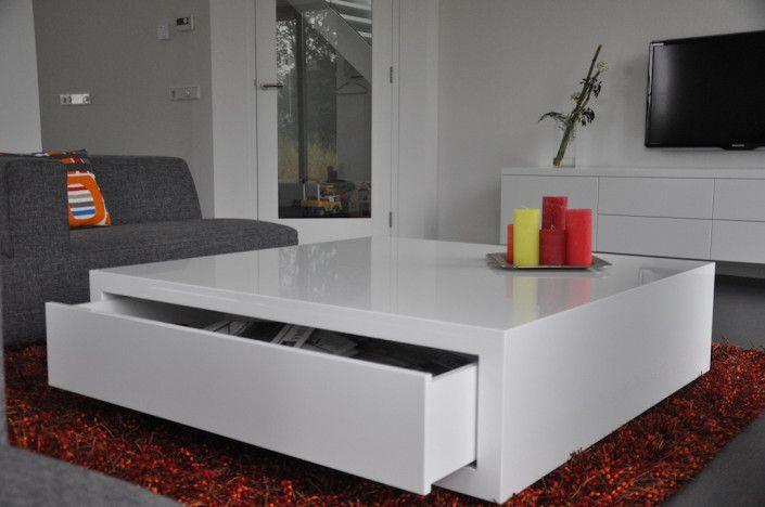 Design Salon Tafel Wit Hoogglans.Maatwerk Salontafel Hoogglans Wit Gespoten 1030 430 Ideeen