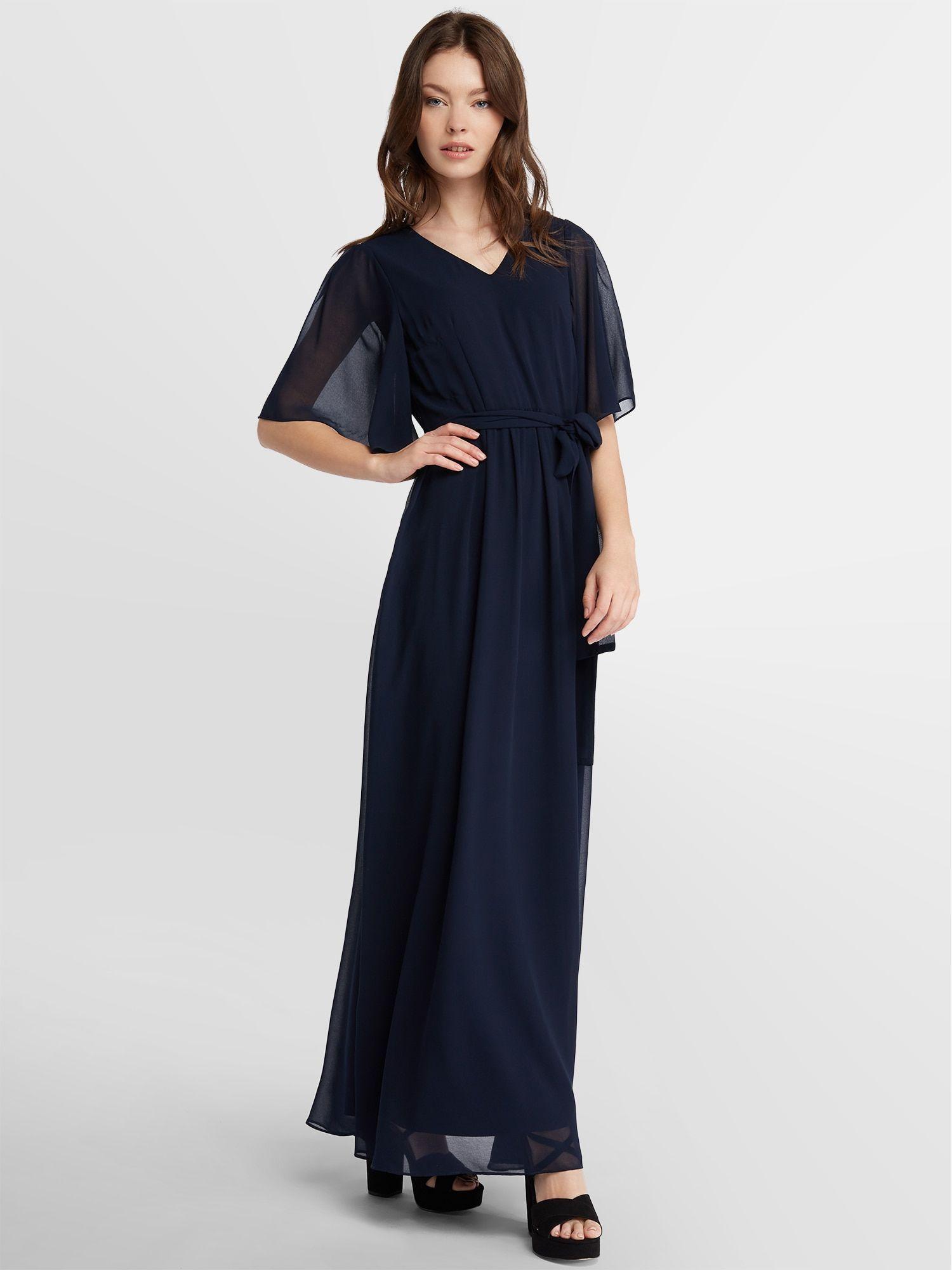 apart chiffon dress in midnight blue - apart chiffon dress