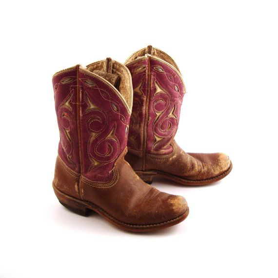 bf948f90d42 Children's Cowboy Boots Vintage Distressed Acme 1950s Brown 50s ...