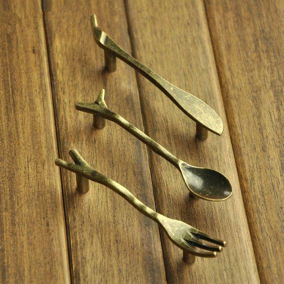bar spoon fork knife knob kitchen cabinet door handles dresser pulls drawer