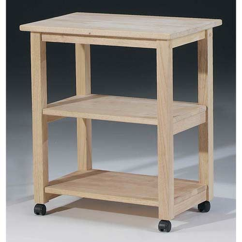International Concepts Unfinished Wood Microwave Cart 185