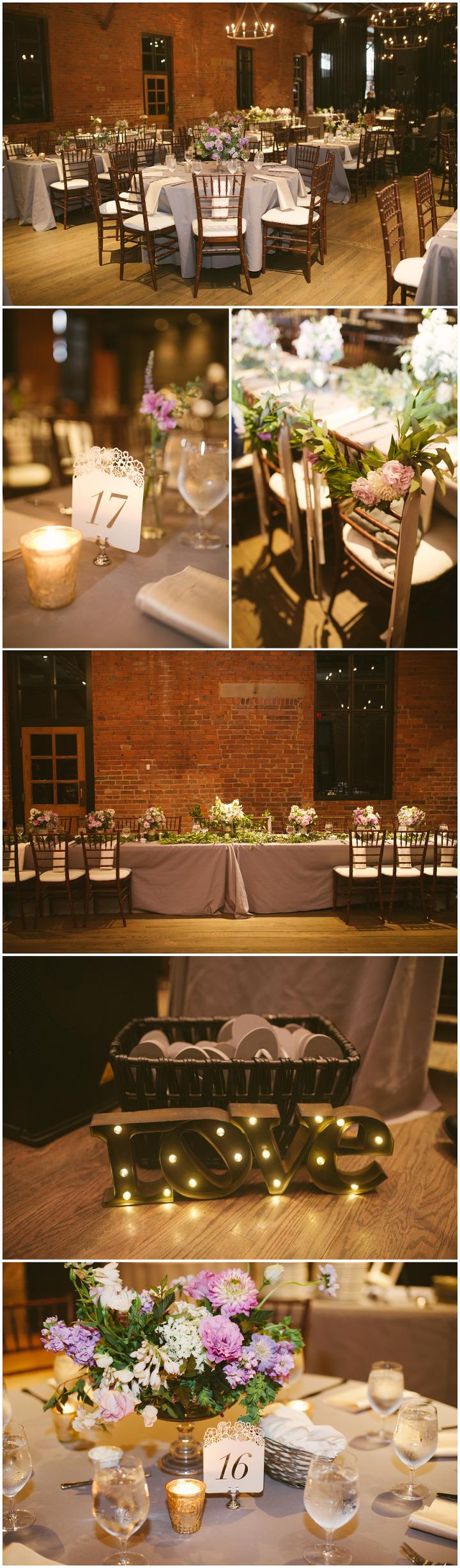 Wedding reception details. High Line Car House. Columbus