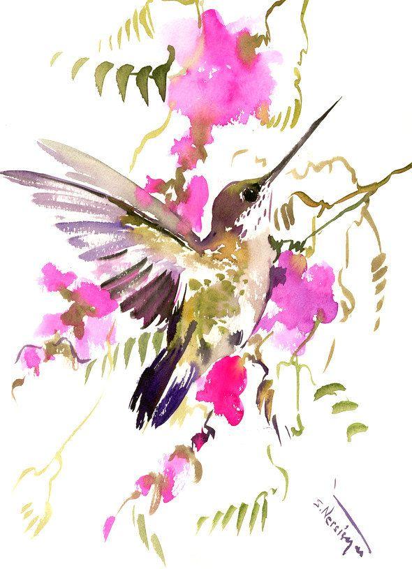 Flying Hummingbird, Original watercolor painting, 15 X 12 ...