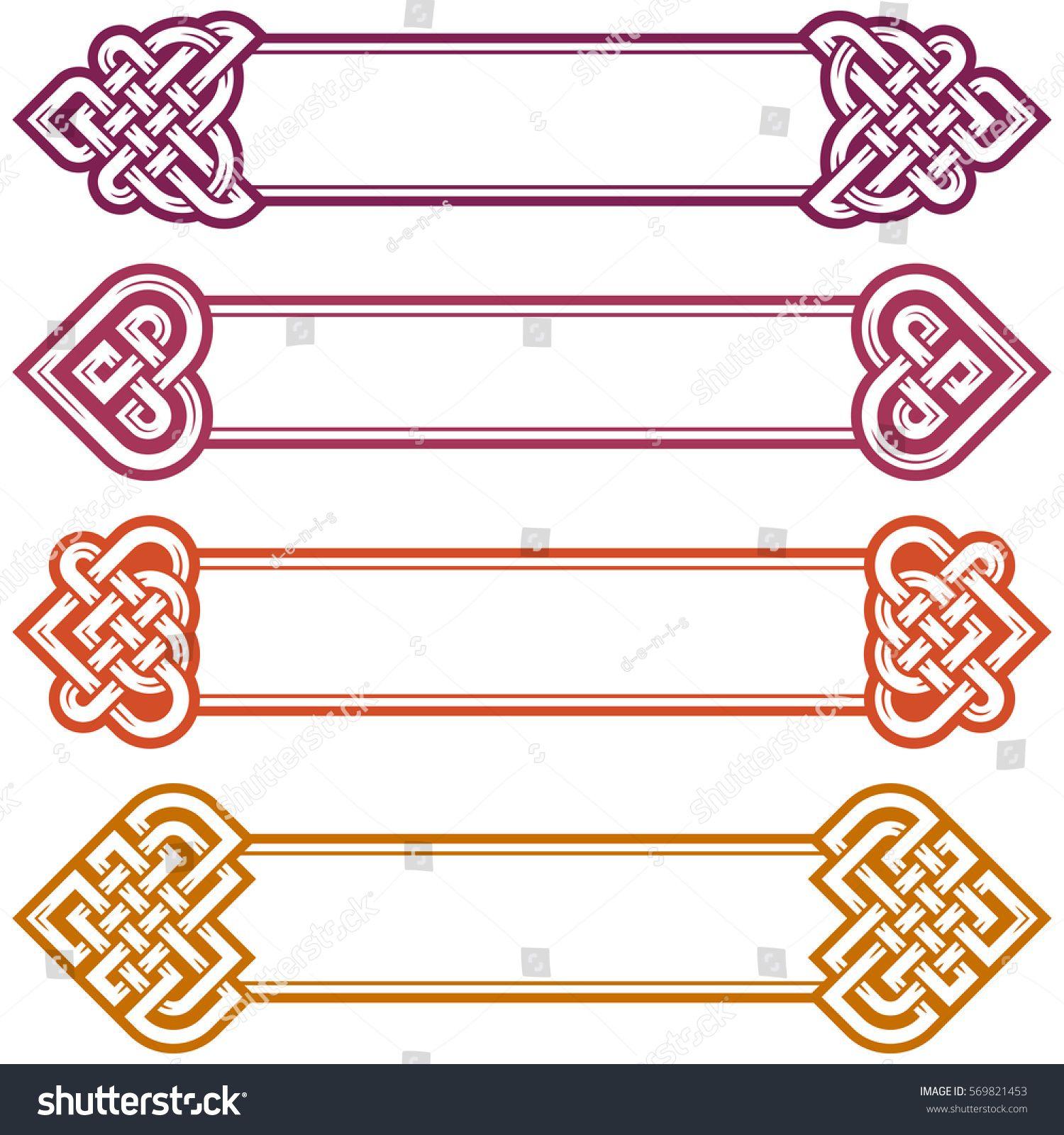Vector Irish Frame Set Design Elements Of Celtic Knot In