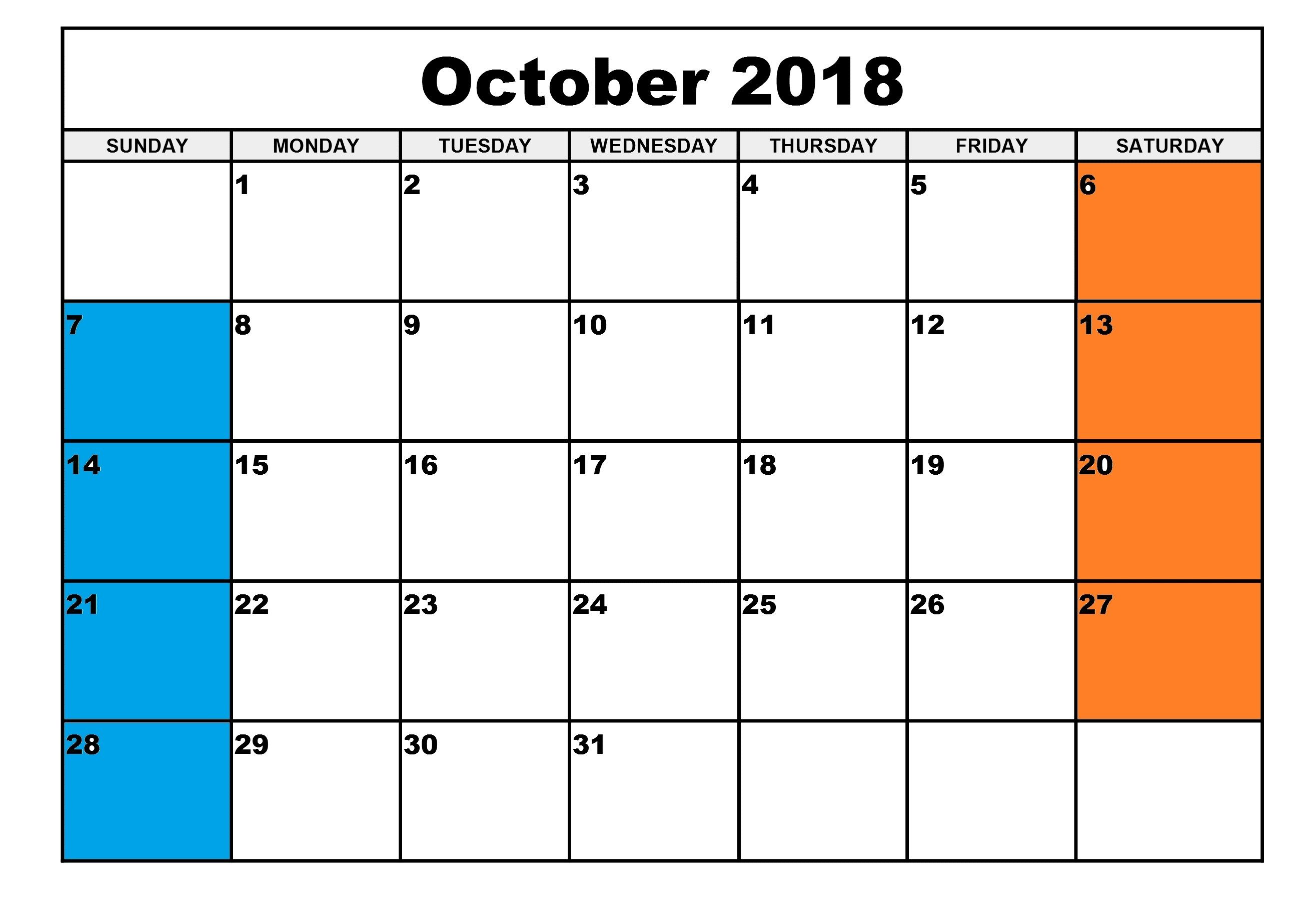 October 2018 Calendar Pdf Doc October Calendar Blank Calendar