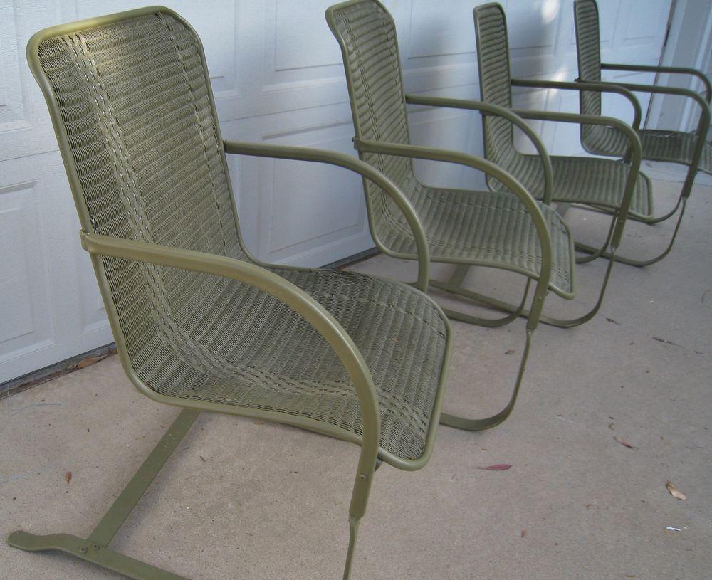 Vintage Wicker Bouncy Chairs Lloyd Loom Set Of 4
