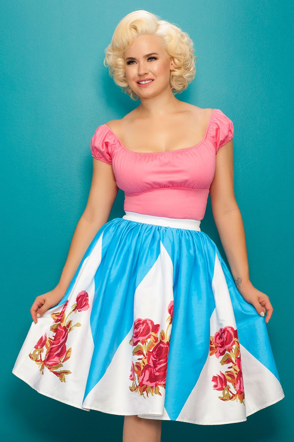 Pin Up Girl Clothing Com Pinup Couture Jenny Skirt In Rose Border Print  Pinup Girl Clothing