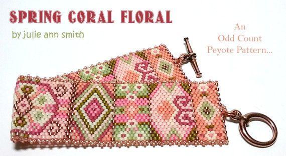 Julie Ann Smith Designs SPRING CORAL FLORAL Odd Count Peyote