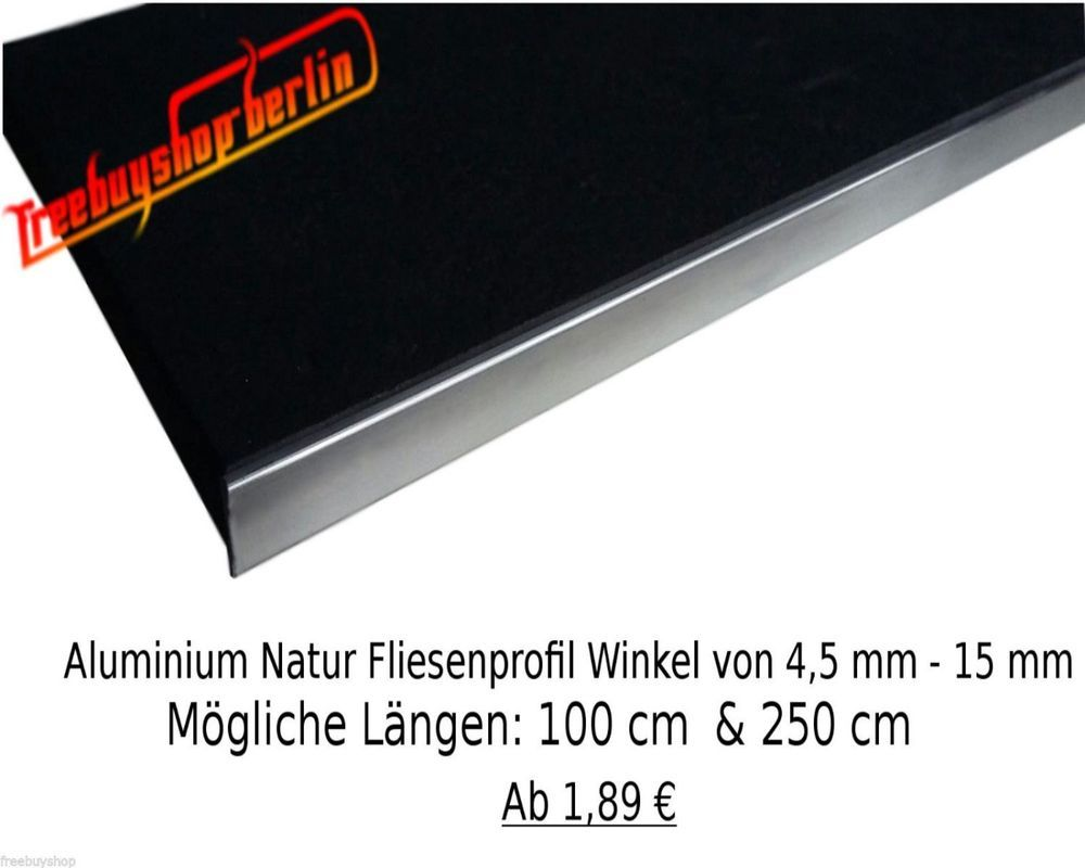 1x 100 Cm Aluminium Natur Fliesenprofil 11 Mm Winkelprofil Alu Profil Natur