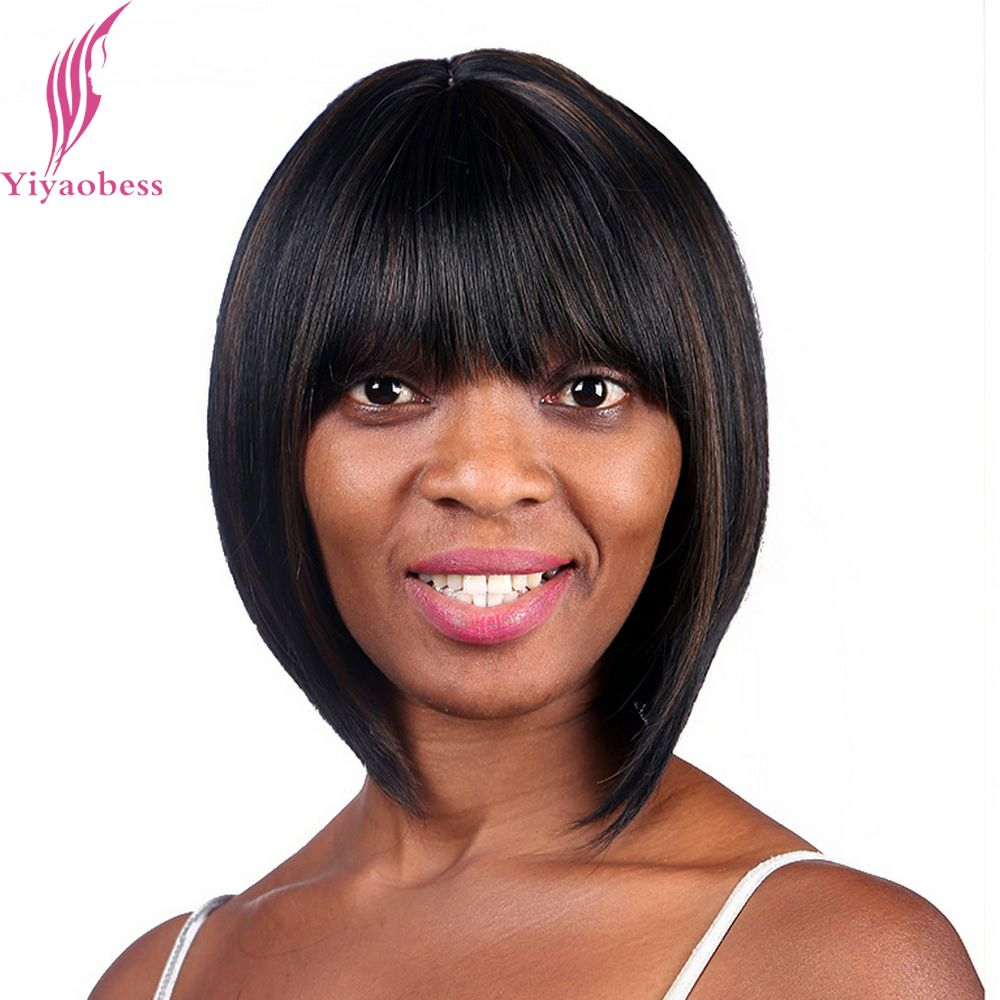 Yiyaobess 10inch African American Bob Wigs For Women Heat Resistant Synthetic Straight Short Brown Highlights Of Hair With Bangs