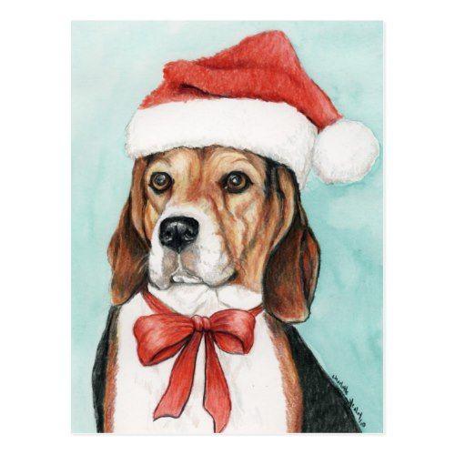 Christmas Beagle Clipart.Christmas Beagle Dog Art Postcad Holiday Postcard Zazzle