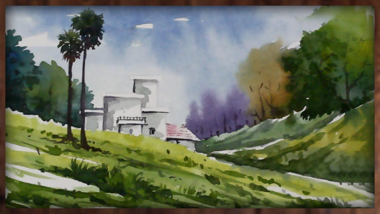 Watercolor Hill Painting Landscape Nature Scenery Drawing Landscape Paintings Scenery Paintings Painting