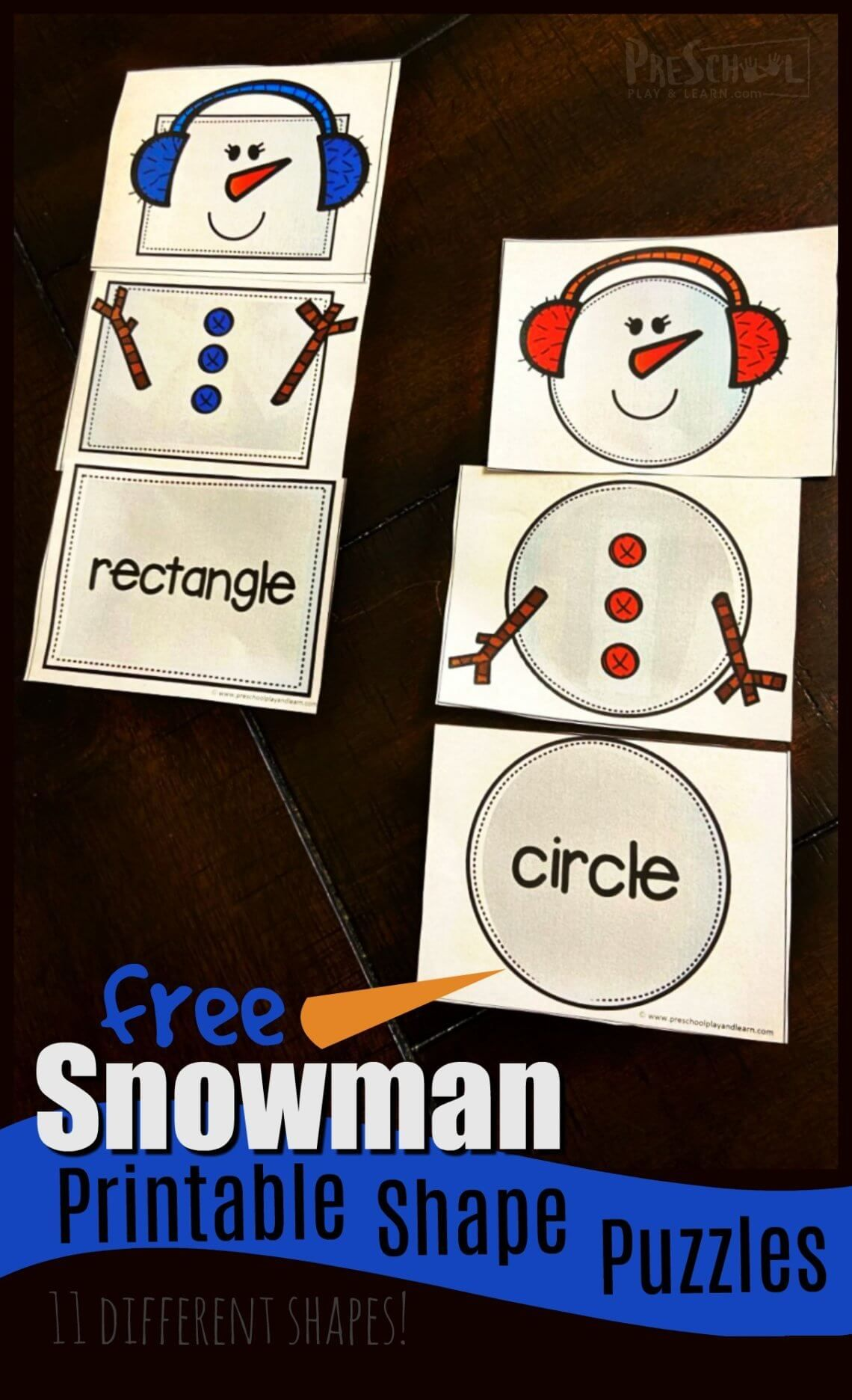 Free Snowman Printable Shape Puzzles In With Images