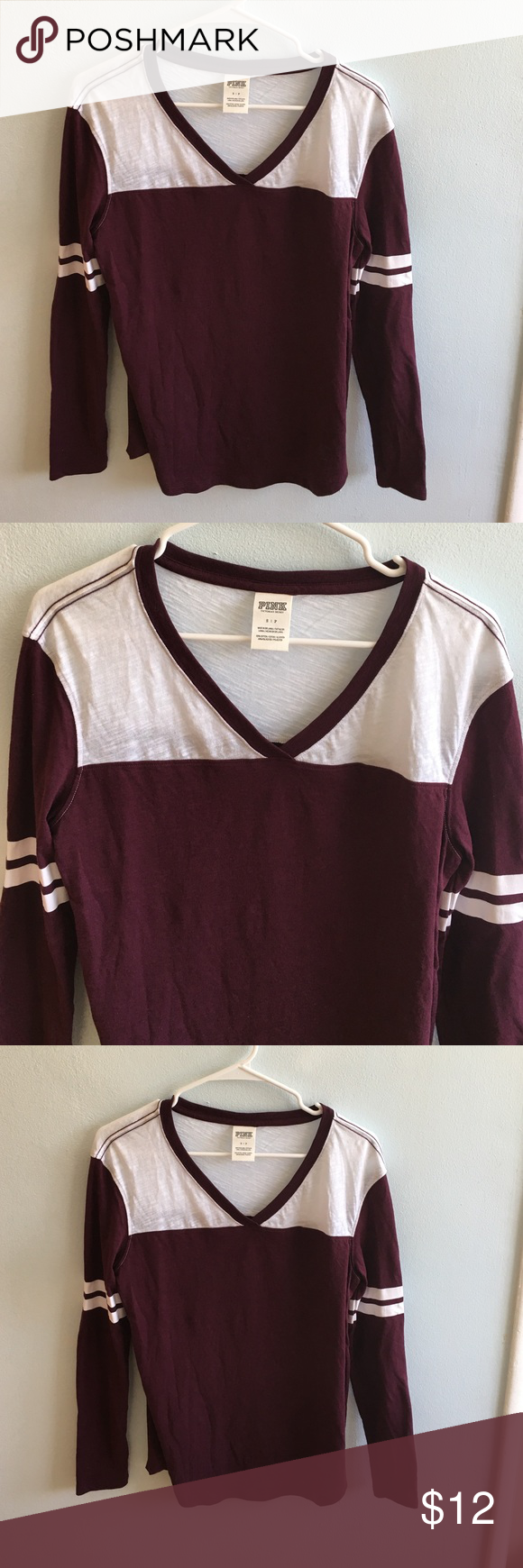 Pink shirt 🐶 Burgundy colored long sleeve shirt 😊 Only been tried on. No tags but you can tell it's brand new. It's a bit of wrinkles because it was folded and put away for a while PINK Victoria's Secret Tops Tees - Long Sleeve