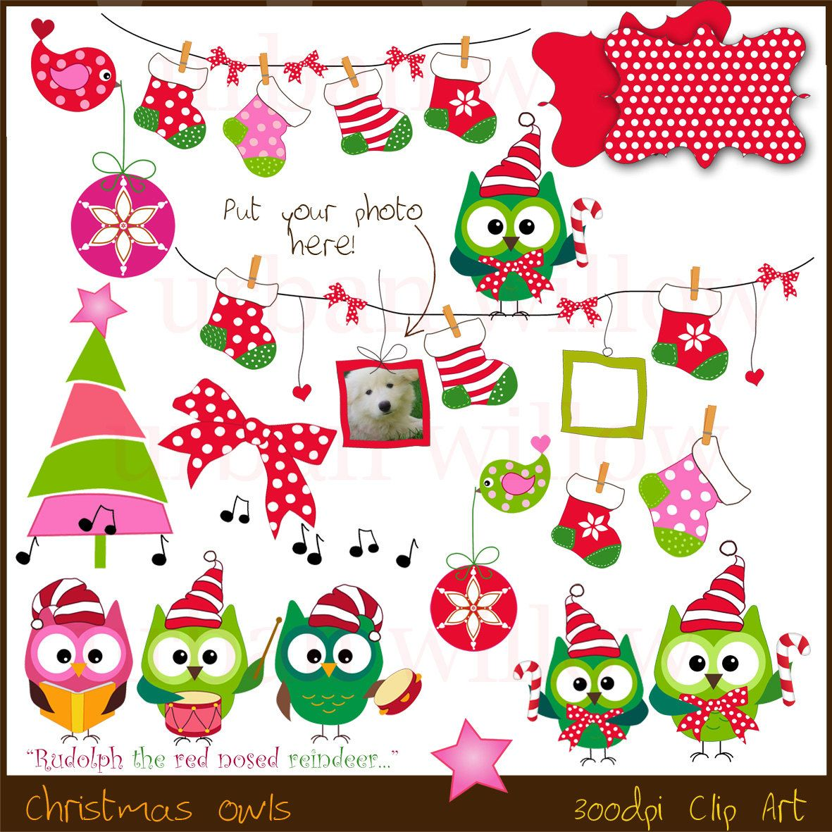 INSTANT DOWNLOAD Owl Christmas. Clip art for commercial