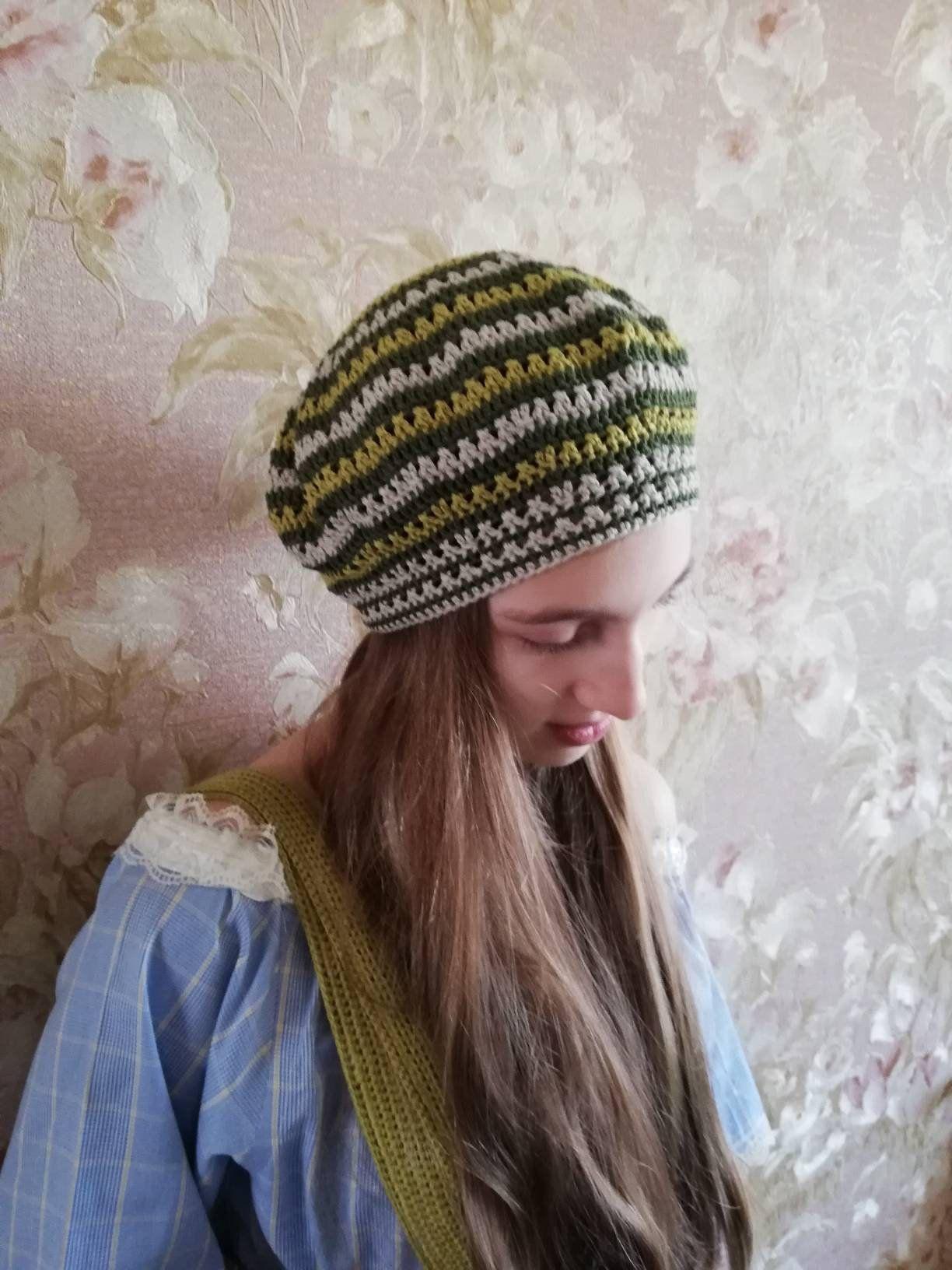 b673c6f8fdc02 Green Crochet Summer Beret Natural Linen Cotton Bamboo Spring Summer Hat  Crochet Bohemian Boho Hat Beach Beret