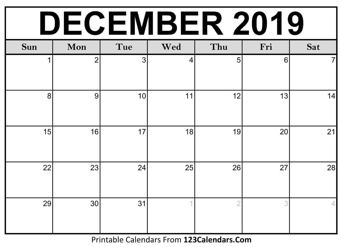 Pick August 2019 December Calendar Printable Pdf