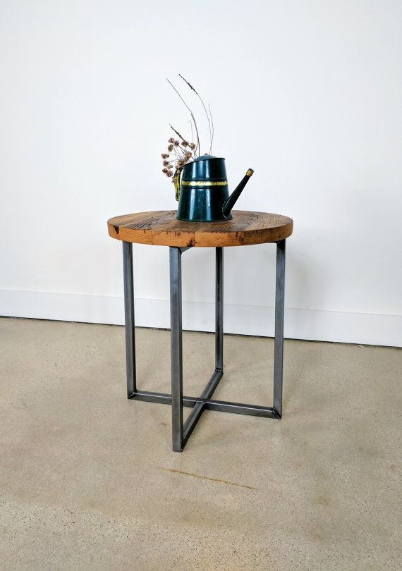 $245   Reclaimed Wood Round Side Table / Accent Table / End Table With  Metal Legs