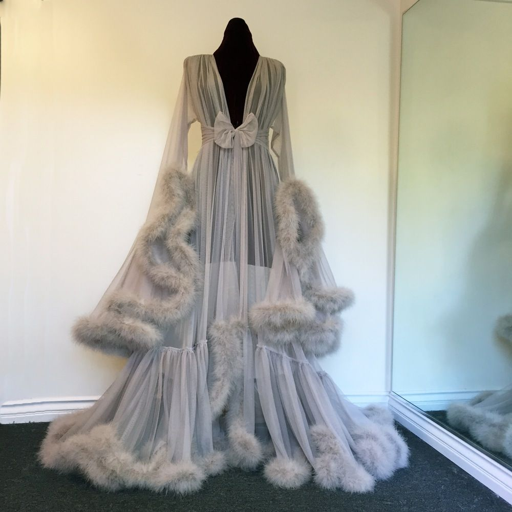 """Image of """"Cassandra"""" Extravagant Dove Grey Marabou Dressing Gown (pre-order!)"""