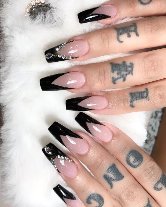 25 Most Impressive Ombre Black Long Acrylic Coffin Nails Create Your Best Impression Today Nail Art Birthday Nail Designs Birthday Nails Long Acrylic Nails