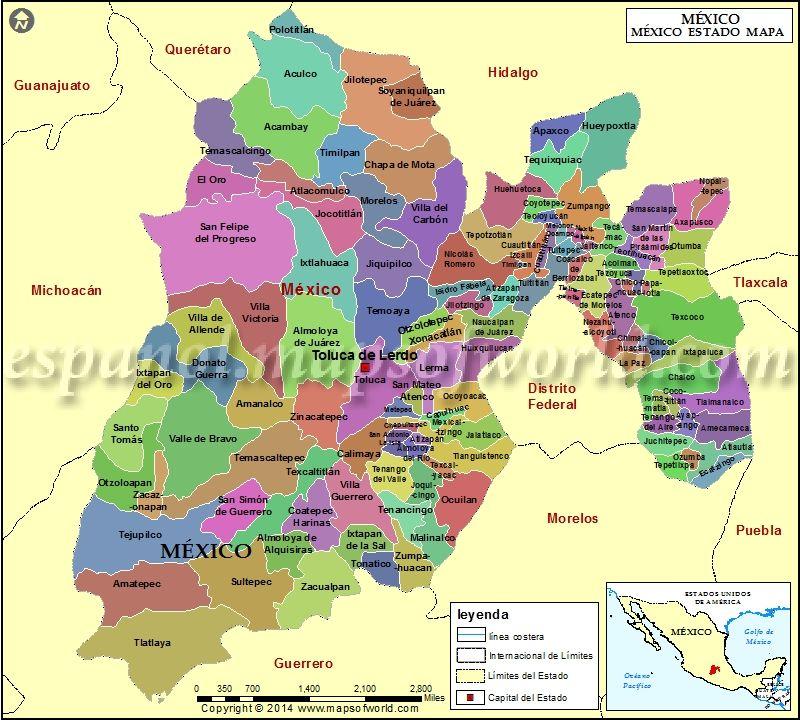 Mapa Del Estado De Mexico Mapa De Estado De Mexico Mapa Geografico De Mexico Mapa De Mexico Viajes En Mexico