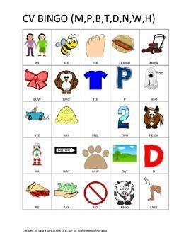 High Quality CV BINGO Game With Early Developing Sounds Including: M,b,p,d  Cv Words