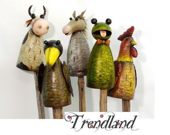 Zaungucker pfostenhocker bauernhof tiere garten dekoration for Gartenfiguren aus keramik