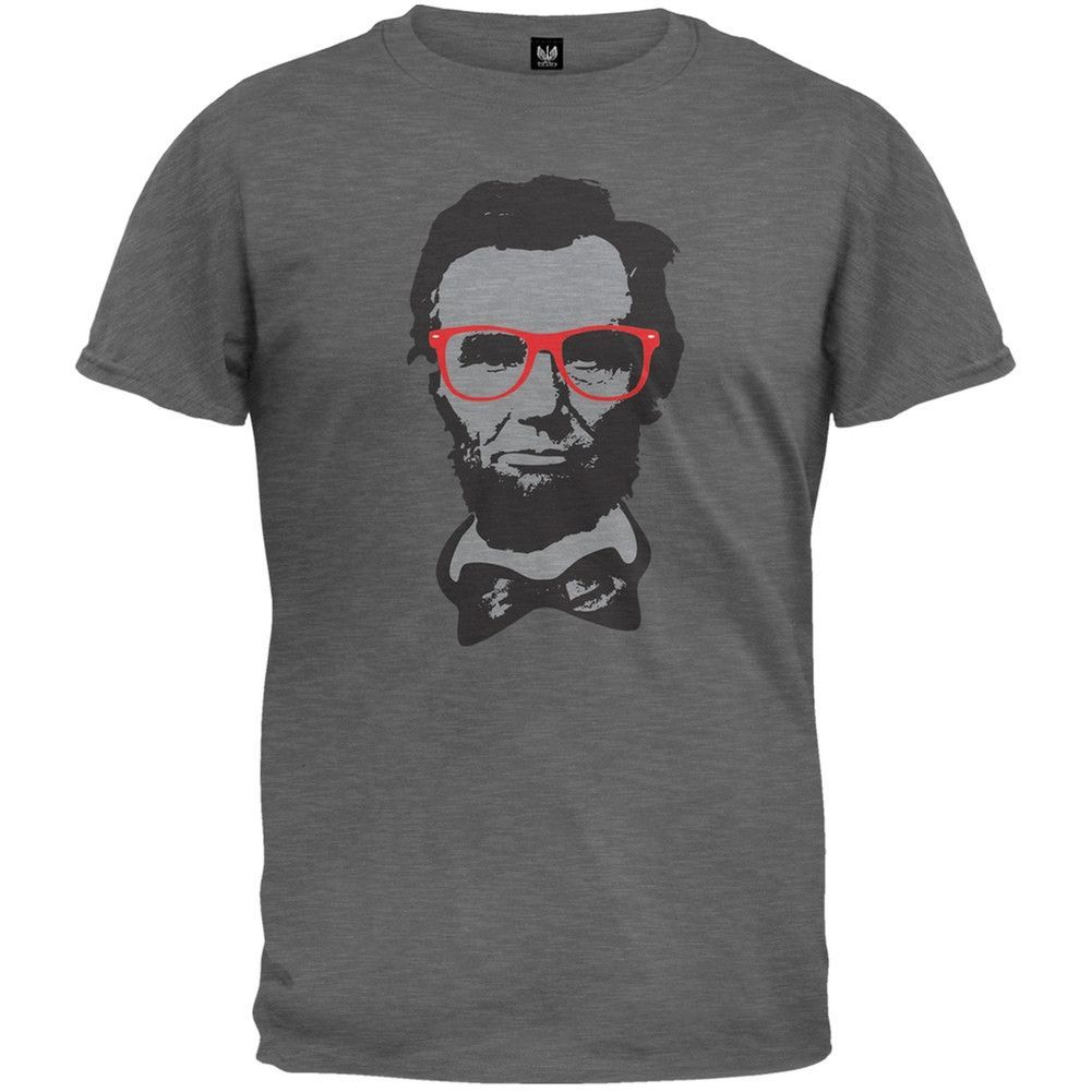 Abraham Lincoln Hipster Geek Glasses Adult Mens T-Shirt