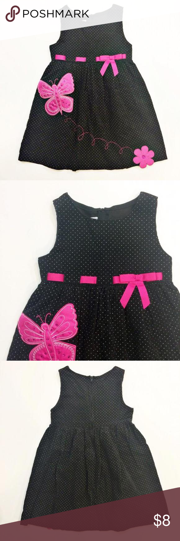 71ea7df5d15 Bonnie Jean Cord Butterfly Dress This beautiful black corduroy dress with  white polkadots from Bonnie Jean has satin butterfly appliqués and a pink  ribbon ...