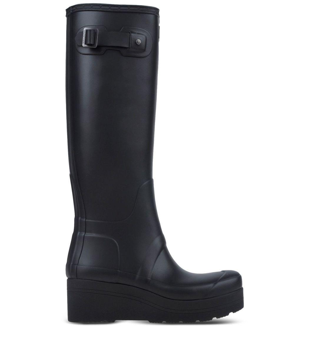 Hunter Black Low Wedge Rain Boot