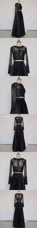 Aline prom dresses scoop long sleeve zipper floor length satin