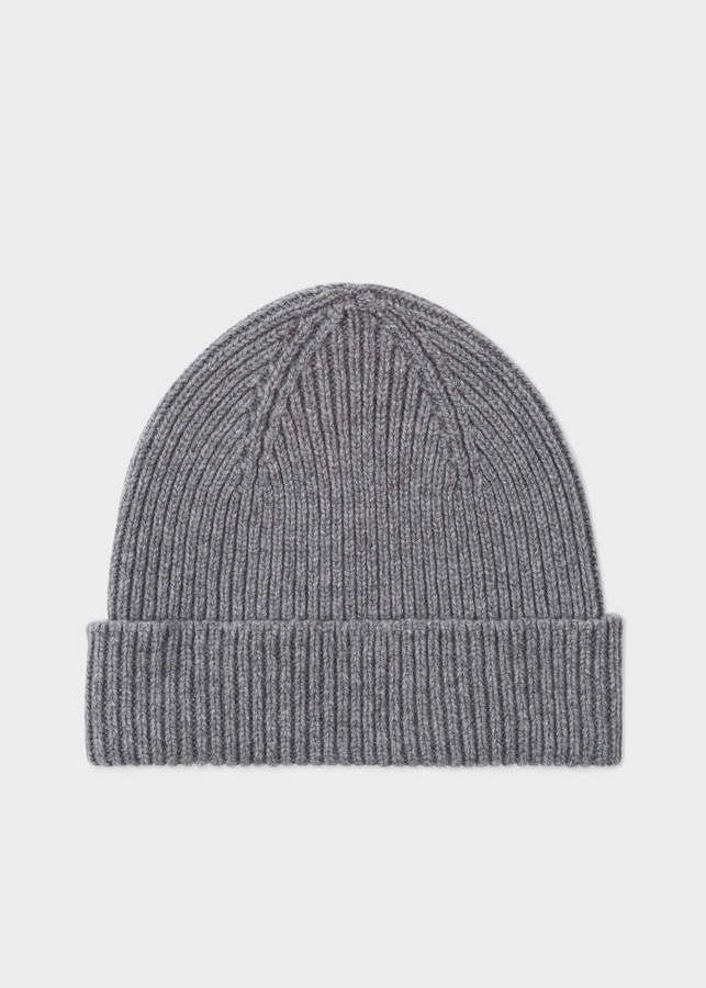54059935c Paul Smith Men's Grey Cashmere-Blend Ribbed Beanie Hat in 2019 ...