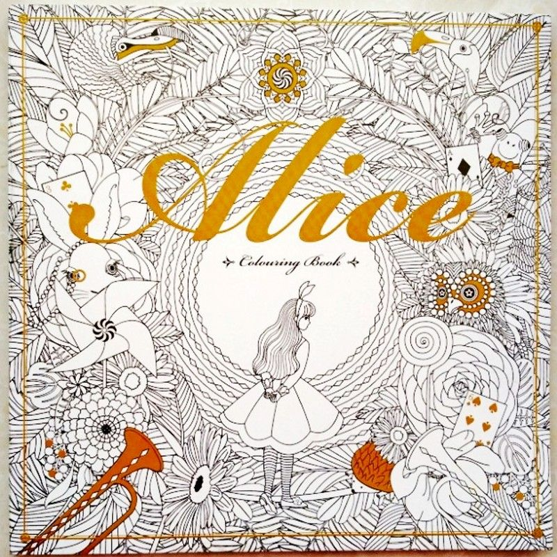 96 Pages Alice In Wonderland Colouring Book For Adult Relieve
